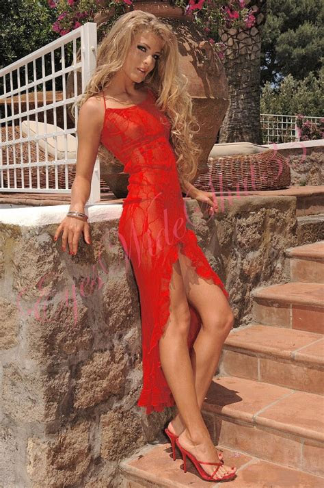 revealing long dress sexy front slit stretch red lace