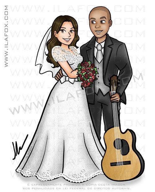 caricatura casal, caricatura noivos, noivo negro, noiva cabelo castanho, caricatura com violão, by ila fox