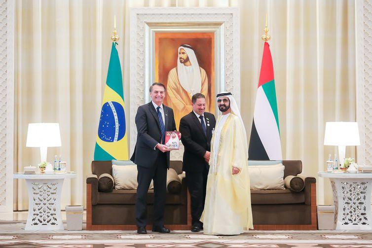 Presidente Jair Bolsonaro se reúne com o  Xeique Mohamed bin Rashed Al Maktoum, Vice-Presidente, Primeiro-Ministro dos Emirados Árabes Unidos