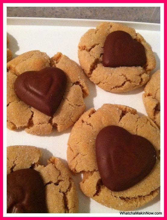 I love Peanut Butter Blossom cookies and think using heart shaped chocolates is great for Valentines Day!