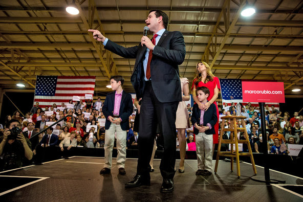 Marco Rubio spoke at a rally on Tuesday night at the Ronald Reagan Equestrian Center in Miami.