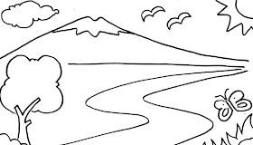 Gambar Pemandangan Gunung Buat Anak Tk
