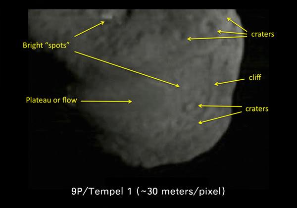 Comet Tempel 1 features
