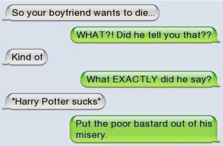 Bf Says Potter Sucks Funny Pictures Quotes Memes Funny Images