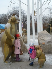 Girls by Russia's Grizzly Coast Animals Exhibit at the MN Zoo