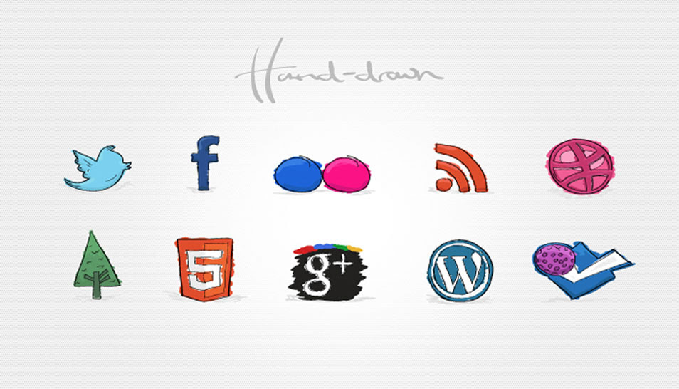 Creative Hand Drawn Social Media Icons