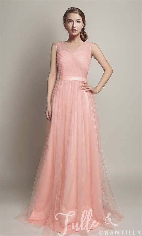 Hot V Neckline Flowy Pleated Long Tulle Bridesmaid Dresses