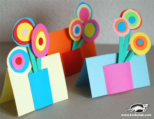 image diy tutorial mother's day card bouquet flowers children krokotak