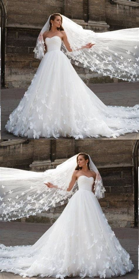 Beautiful Wedding Dresses with Long Train by PrettyLady on