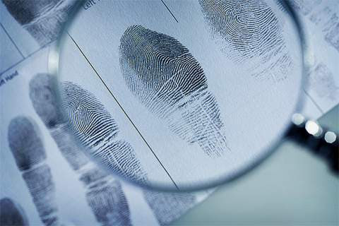 Close-up of magnifying glass highlighting fingerprints on document