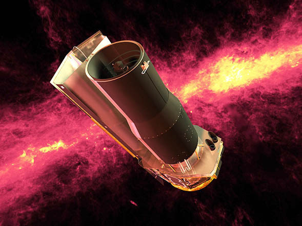 Spitzer against an infrared sky in space