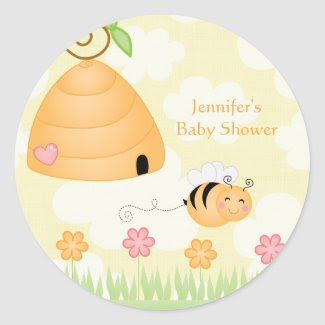 Sweet cartoon bumble bee baby shower sticker sticker
