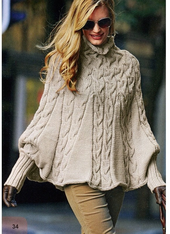 ENGLISH Knitting Pattern Women Poncho with Long Puffy Sleeves and Cables PDF - AliceInCraftyland