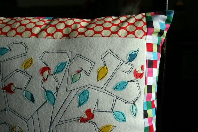 sketch stitch tree pillow