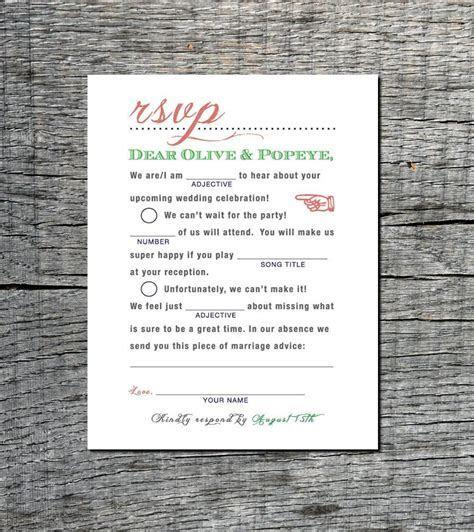 Mad Libs Wedding RSVP Postcard   Wedding Madlibs Rsvp Card