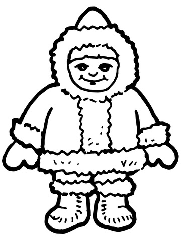 Dibujo De Lindo Niño Esquimal Inuit Para Colorear Dibujos Para