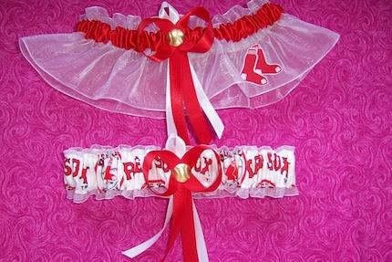 BOSTON RED SOX Inspired Wedding Garter Set
