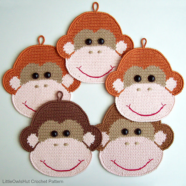 Monkey potholder or decor par LittleOwlsHut