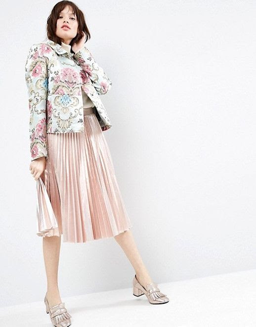 Le Fashion Blog Jacquard Floral Jacket Pleated Blush Skirt Nude Heeled Shoes Via Asos