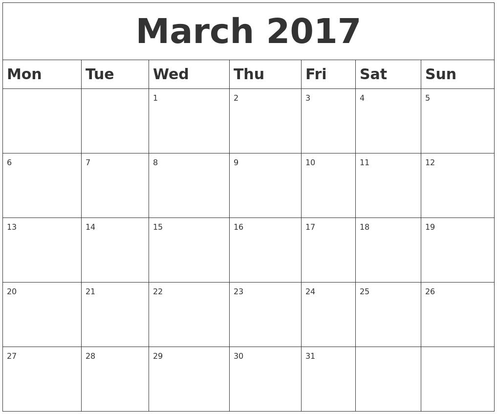 March Calendar 2017 Starting Monday   february calendars