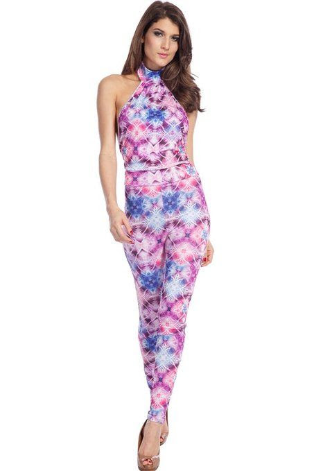 Dear-Lover Women's Halter Backless Pink and Blue Floral Print Jumpsuit Multicolored Small Size