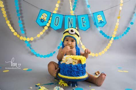 Minion 1st Birthday Cake Smash Session: KristeenMarie Photo
