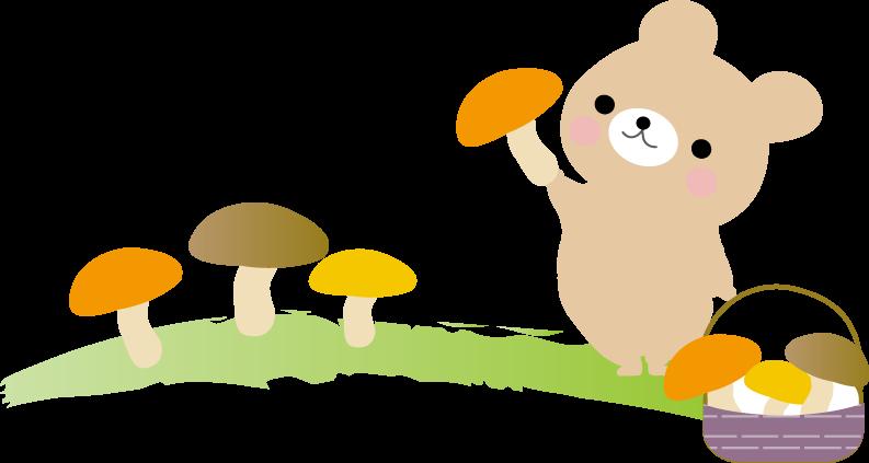 キノコ狩り秋のイラスト 無料イラストフリー素材