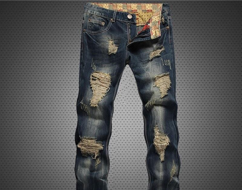0232068b2d5 Comprar Pantalones Vaqueros Rasgados Informales Delgados Con Agujeros Para  Hombre De Algodón Alta Calidad Online Baratos