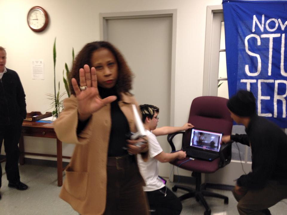 Charlotte Hitchcock, NPS counsel, tried to shoo students from Anderson's office. The students set up their broadcast center.