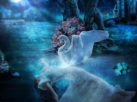 swan lake night blue moon flower lady desktop wallpaper hd