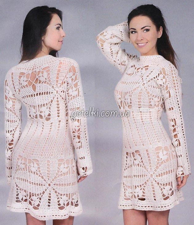 Interesante blanco gancho vestido.  Descripción esquemas