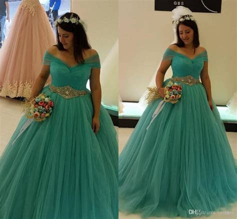 Plus Size Turquoise Wedding Dresses Ball Gown Off Shoulder