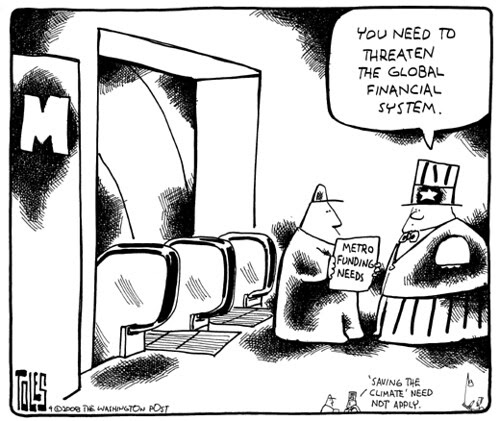 Tom Toles editorial cartoon, 9/29/2008, federal funding for WMATA