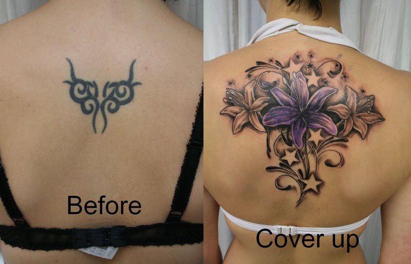 Cover Up Flowers Stars Color By 2face Tattoo Tattoomagz