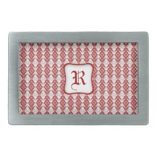 Red Grid Rectangular Belt Buckle Template