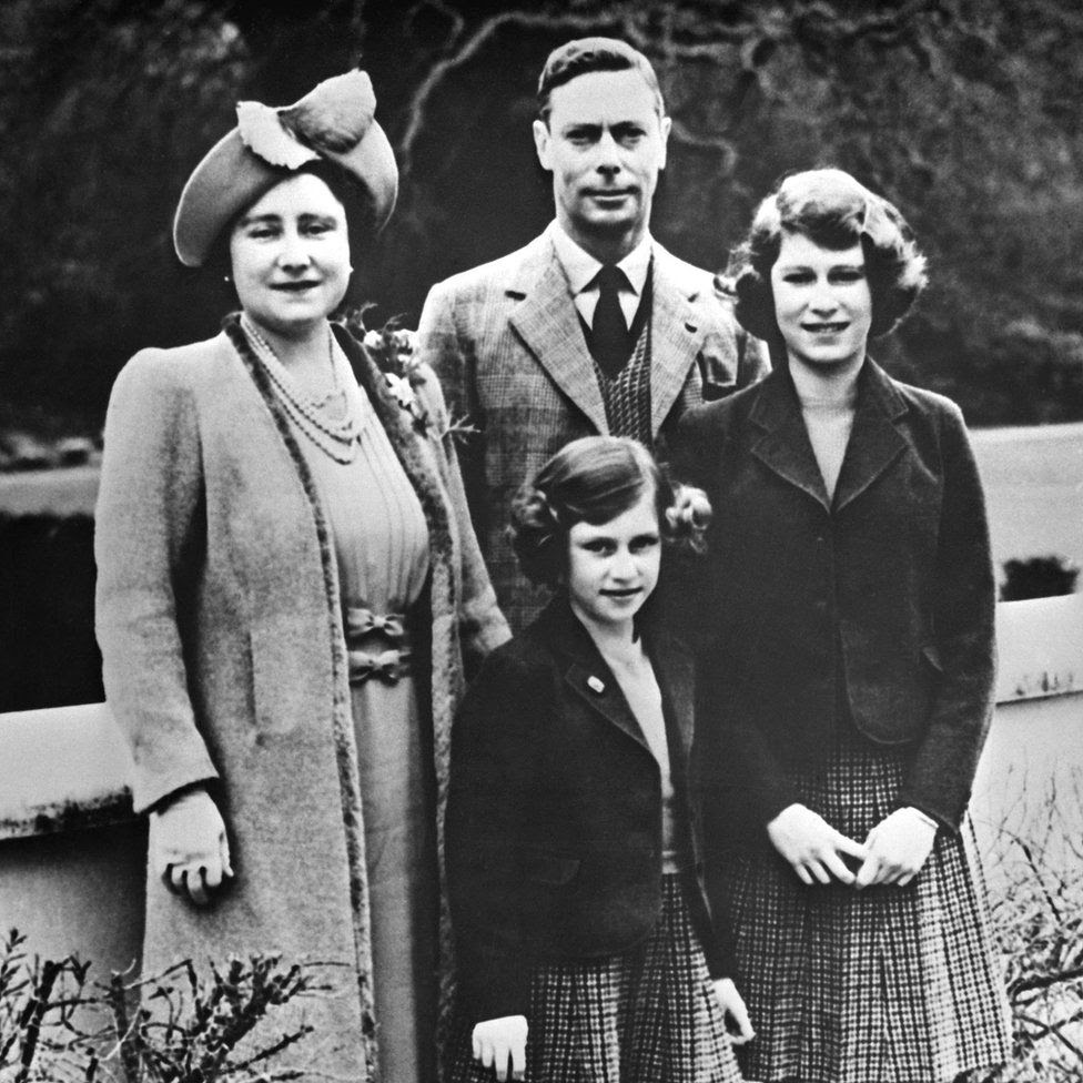 King George VI, his wife Queen Elizabeth and their two daughters, Princess Elizabeth (right) and Princess Margaret