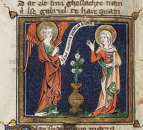 Psautier de Borch, enluminure, l'Annonciation