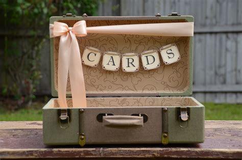 Wedding Card Holder Vintage Style Suitcase Card Box Green
