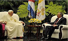 Cuban President Raul Castro meeting with Pope Benedict XVI during the papal visit to Havana. Cubans greeted the pontiff and a mass was held. by Pan-African News Wire File Photos