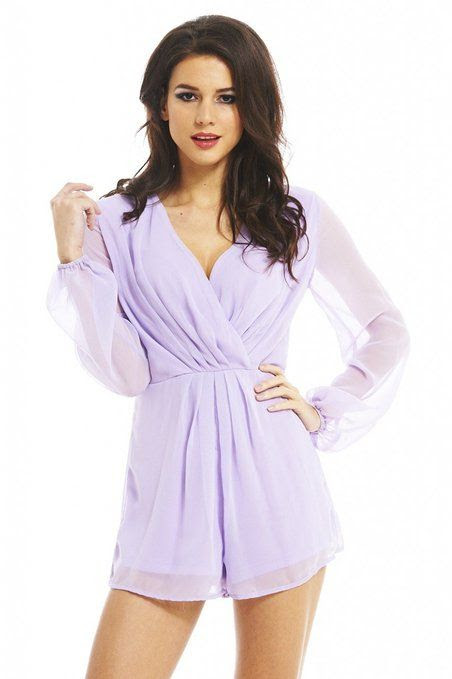 AX Paris Women's Wrap Front Chiffon Aqua Romper: Clothing