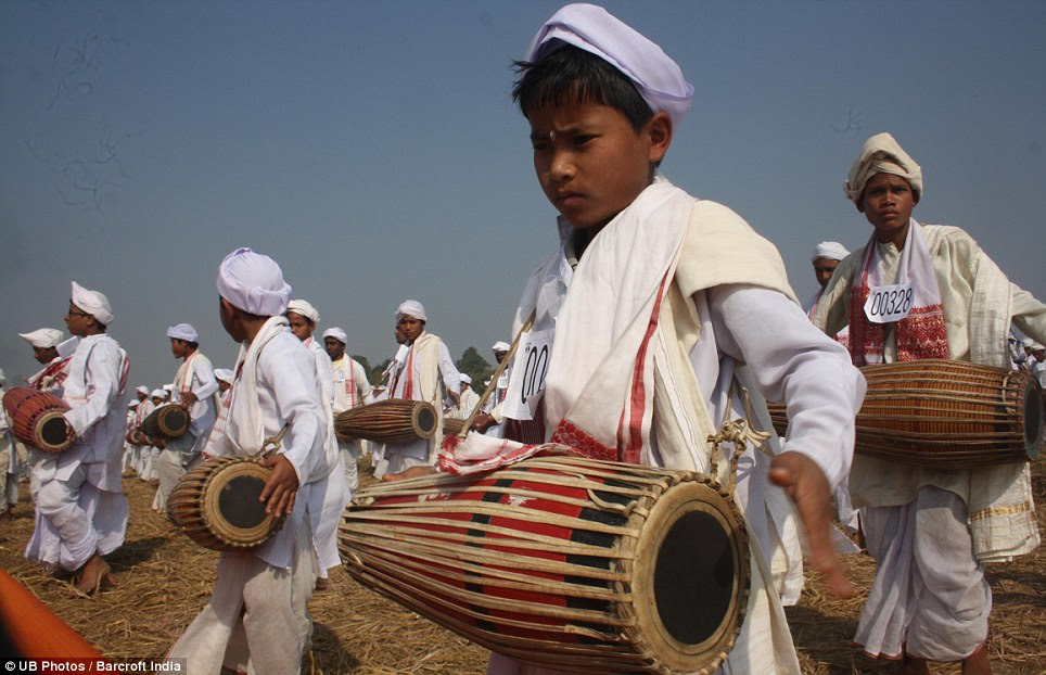 Concentration: Many of the drummers at the event were young boys playing the kohl, a two-sided drum from northern and eastern India made of terracotta