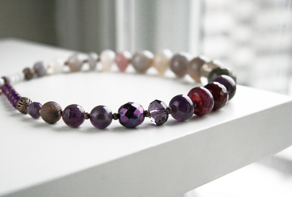 Purple Grey Beaded Necklace Ombre Necklace Violet de Mars Eggplant Linen Spring Color 2013 Europeanstreetteam