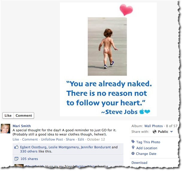 Follow Your Heart - Steve Jobs quote shared on Facebook
