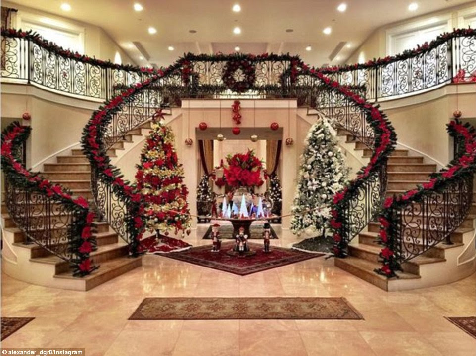 Some Rich Kids of Instagram were happy to spend their holidays at home including Alex Bostonian, a Los Angeles native who calls himself an international socialite and had not one but two massive Christmas trees just in the front hall of his mansion