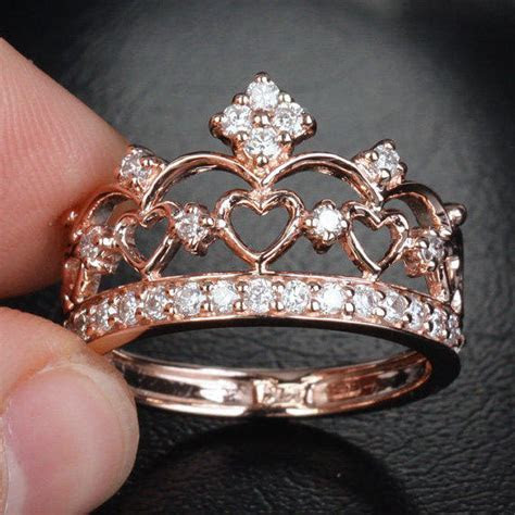 Unique 14K Rose Gold Heart Crown from TheLOGR on Etsy   Rings