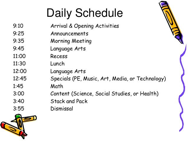 2nd Grade Daily Schedule | Daily Agenda Calendar