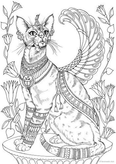 egyptian cat printable adult coloring page