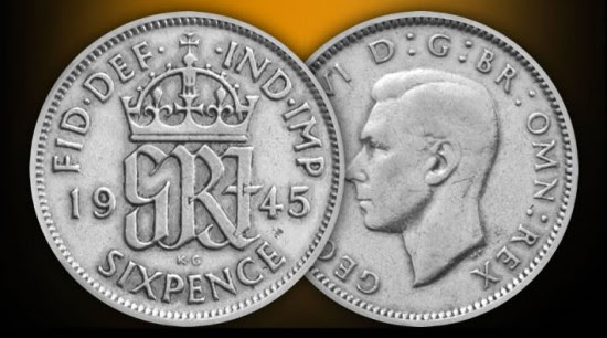 Image result for old coins Sixpence