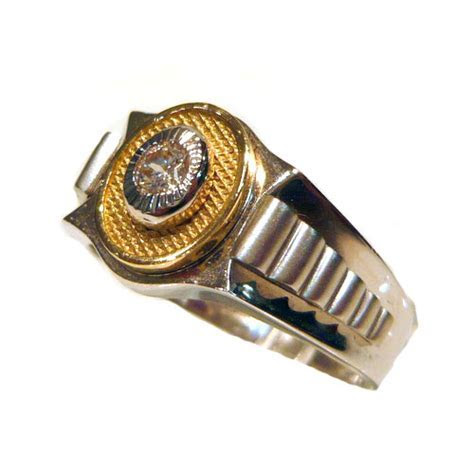 Rolex Design Two Colour 14ct Gold Mens Ring   R1159