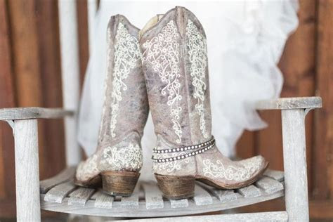 country chic tennessee wedding  white cowboy boots